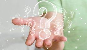 Συρμένα χέρι ερωτηματικά εκμετάλλευσης επιχειρηματιών Στοκ φωτογραφία με δικαίωμα ελεύθερης χρήσης