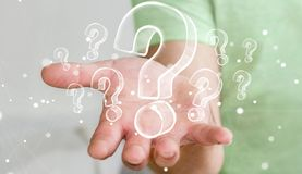 Συρμένα χέρι ερωτηματικά εκμετάλλευσης επιχειρηματιών Στοκ εικόνες με δικαίωμα ελεύθερης χρήσης