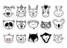 Συρμένα χέρι ζώα, σύνολο χαριτωμένου doodle Στοκ φωτογραφίες με δικαίωμα ελεύθερης χρήσης