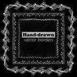 Συρμένα χέρι διανυσματικά σύνορα καθορισμένα Στοκ Εικόνες