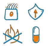 Συρμένα χέρι ιατρικά διανυσματικά μπλε και πορτοκαλιά διανυσματικά εικονίδια απεικόνιση αποθεμάτων
