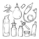 Συρμένα χέρι καθορισμένα φάρμακα σκίτσων για τα κρύα, τον αναρροφητήρα, τις πτώσεις μύτης και το ρινικό ψεκασμό στοκ φωτογραφίες