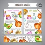 Συρμένα χέρι καλλυντικά broshure λεσχών SPA και aromatherapy στοιχεία Σκίτσο κινούμενων σχεδίων του φυσικού καλλυντικού Στοιχεία  Στοκ Φωτογραφίες
