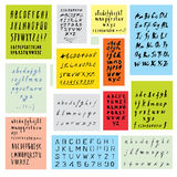 Συρμένα χέρι καλλιγραφικά διανυσματικά αλφάβητα καθορισμένα Στοκ εικόνες με δικαίωμα ελεύθερης χρήσης