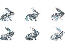 Συρμένα χέρι κουνέλια Doodle καθορισμένα επίσης corel σύρετε το διάνυσμα απεικόνισης Στοκ Εικόνες