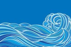 Συρμένα χέρι κύματα διανυσματική απεικόνιση