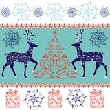 Συρμένα χέρι μαγικά ελάφια Χριστουγέννων Διακοσμητικό χριστουγεννιάτικο δέντρο, δώρα Στοκ εικόνες με δικαίωμα ελεύθερης χρήσης