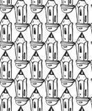 Συρμένα χέρι μολύβια πρότυπο άνευ ραφής Υπόβαθρο Στοκ Φωτογραφίες