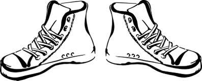 Συρμένα χέρι πάνινα παπούτσια Στοκ φωτογραφίες με δικαίωμα ελεύθερης χρήσης