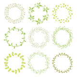 Συρμένα χέρι πράσινα floral στεφάνια Στοκ φωτογραφία με δικαίωμα ελεύθερης χρήσης