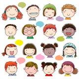 Συρμένα χέρι πρόσωπα παιδιών καθορισμένα ελεύθερη απεικόνιση δικαιώματος