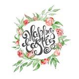 Συρμένα χέρι πρότυπα ευχετήριων καρτών αποσπάσματος Πάσχας με εγγραφής φράσης το ευτυχές ύφος καλλιγραφίας Πάσχας σύγχρονο Στοκ φωτογραφίες με δικαίωμα ελεύθερης χρήσης