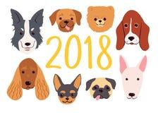 Συρμένα χέρι σκυλιά που τίθενται για το νέο έτος του 2018 διάνυσμα μητέρων s ίριδων χαιρετισμού ημέρας καρτών Στοκ Εικόνες