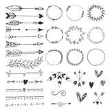 Συρμένα χέρι στοιχεία γαμήλιου σχεδίου, βέλη, καρδιές boders κύκλων και φτερά απεικόνιση αποθεμάτων