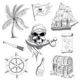 Συρμένα χέρι στοιχεία σχεδίου πειρατών ελεύθερη απεικόνιση δικαιώματος