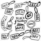 Συρμένα χέρι στοιχεία σχεδίου πώλησης Doodle Στοκ Εικόνες