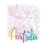 Συρμένα χέρι σύμβολα της Αυστραλίας απεικόνιση αποθεμάτων