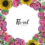 Συρμένα χέρι σύνορα λουλουδιών Στοκ εικόνες με δικαίωμα ελεύθερης χρήσης