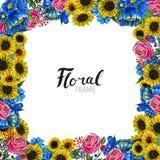 Συρμένα χέρι σύνορα λουλουδιών Στοκ φωτογραφία με δικαίωμα ελεύθερης χρήσης