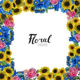 Συρμένα χέρι σύνορα λουλουδιών Στοκ Εικόνες