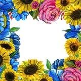 Συρμένα χέρι σύνορα λουλουδιών Στοκ Φωτογραφίες