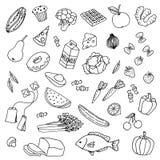 Συρμένα χέρι τρόφιμα Στοκ Φωτογραφίες