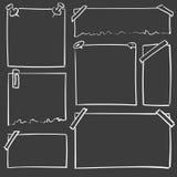 Συρμένα χέρι φύλλα του εγγράφου Διανυσματικά τετραγωνικά και στρογγυλά σύνορα κινούμενων σχεδίων Μορφές επίδρασης μολυβιών Στοκ Εικόνες
