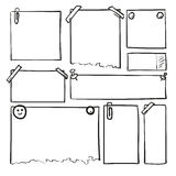Συρμένα χέρι φύλλα του εγγράφου Διανυσματικά τετραγωνικά και στρογγυλά σύνορα κινούμενων σχεδίων Μορφές επίδρασης μολυβιών Στοκ εικόνα με δικαίωμα ελεύθερης χρήσης