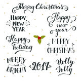 Συρμένα χέρι Χριστούγεννα και νέα συλλογή διακοπών έτους Στοκ εικόνες με δικαίωμα ελεύθερης χρήσης