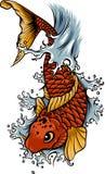 Συρμένα χέρι ψάρια Koi περιλήψεων και ιαπωνική δερματοστιξία παφλασμών νερού ελεύθερη απεικόνιση δικαιώματος