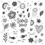 Συρμένα χέρι doodle θερινά στοιχεία Στοκ Εικόνες