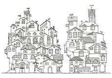 Συρμένα χέρι doodle σπίτια Στοκ εικόνα με δικαίωμα ελεύθερης χρήσης