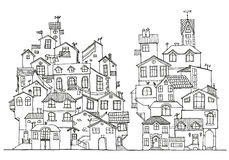 Συρμένα χέρι doodle σπίτια Στοκ Φωτογραφίες