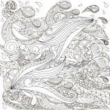 Συρμένα χέρι doodle ψάρια στα κύματα, χρωματίζοντας σελίδα αντι πίεσης απεικόνιση αποθεμάτων