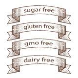 Συρμένα χέρι grunge εμβλήματα - γλουτένη ελεύθερη, ζάχαρη ελεύθερη, γαλακτοκομείο ελεύθερο, ελεύθερο σχέδιο εμβλημάτων ΓΤΟ διανυσματική απεικόνιση