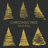 Συρμένα χέρι grunge χριστουγεννιάτικα δέντρα Ζωγραφική μελανιού Στοκ Εικόνες