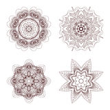 4 συρμένα χέρι mandalas Στοκ Εικόνα