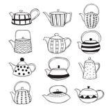Συρμένα χέρι teapots Στοκ Εικόνες