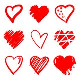 συρμένες καρδιές χεριών Στοιχεία σχεδίου για την ημέρα βαλεντίνων ` s απεικόνιση αποθεμάτων