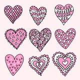 συρμένες καρδιές χεριών Στοκ εικόνα με δικαίωμα ελεύθερης χρήσης