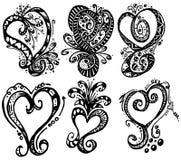 συρμένες καρδιές χεριών Στοκ φωτογραφίες με δικαίωμα ελεύθερης χρήσης
