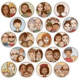 Συρμένες οι χέρι εικόνες των οικογενειών, ζεύγη, φίλοι, αμφιθαλείς, ξεχωρίζουν απεικόνιση αποθεμάτων