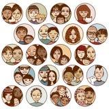 Συρμένες οι χέρι εικόνες των οικογενειών, ζεύγη, φίλοι, αμφιθαλείς, ξεχωρίζουν διανυσματική απεικόνιση