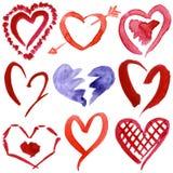 συρμένες τις περίληψη καρδιές χεριών που τίθενται το watercolor Στοκ εικόνες με δικαίωμα ελεύθερης χρήσης