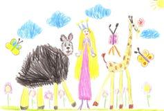 Συρμένες χέρι αστείες ζώα και πριγκήπισσα κινούμενων σχεδίων παιδιών Στοκ φωτογραφία με δικαίωμα ελεύθερης χρήσης