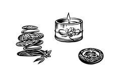 Συρμένες χέρι διακοσμητικές πέτρες και κεριά SPA Διανυσματικό μαύρο σχέδιο μελανιού που απομονώνεται στο άσπρο υπόβαθρο Γραφική τ απεικόνιση αποθεμάτων