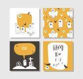 Συρμένες χέρι διανυσματικές αφηρημένες αφίσες κομμάτων απεικονίσεων αποκριών κινούμενων σχεδίων ευτυχείς και κάρτες συλλογής που  Στοκ Εικόνα