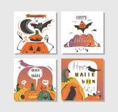 Συρμένες χέρι διανυσματικές αφηρημένες αφίσες κομμάτων απεικονίσεων αποκριών κινούμενων σχεδίων ευτυχείς και κάρτες συλλογής που  Στοκ εικόνες με δικαίωμα ελεύθερης χρήσης
