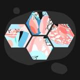 Συρμένες χέρι διανυσματικές καλλιτεχνικές καθολικές κατασκευασμένες αφηρημένες hexagon μορφές σύνθεσης witth, χέρι - γίνοντες συσ Στοκ φωτογραφία με δικαίωμα ελεύθερης χρήσης