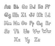 Συρμένες χέρι διανυσματικές ABC βουρτσών ανώτερες και πεζές επιστολές μελανιού καθορισμένες Κωμική πηγή Doodle για το σχέδιό σας ελεύθερη απεικόνιση δικαιώματος
